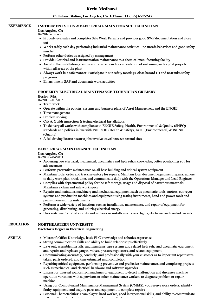 Electrical Maintenance Technician Resume Samples | Velvet Jobs