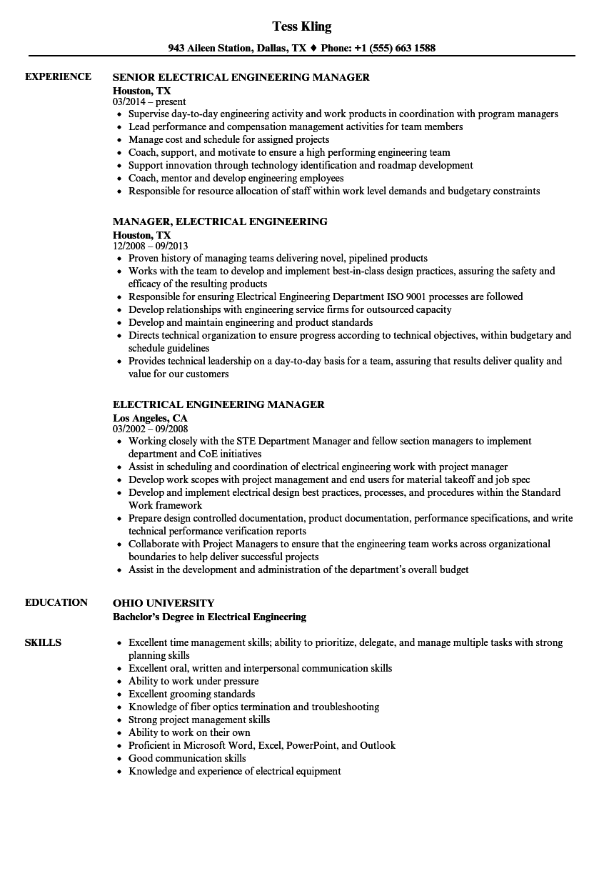 Electrical Manager Resume Samples Velvet Jobs