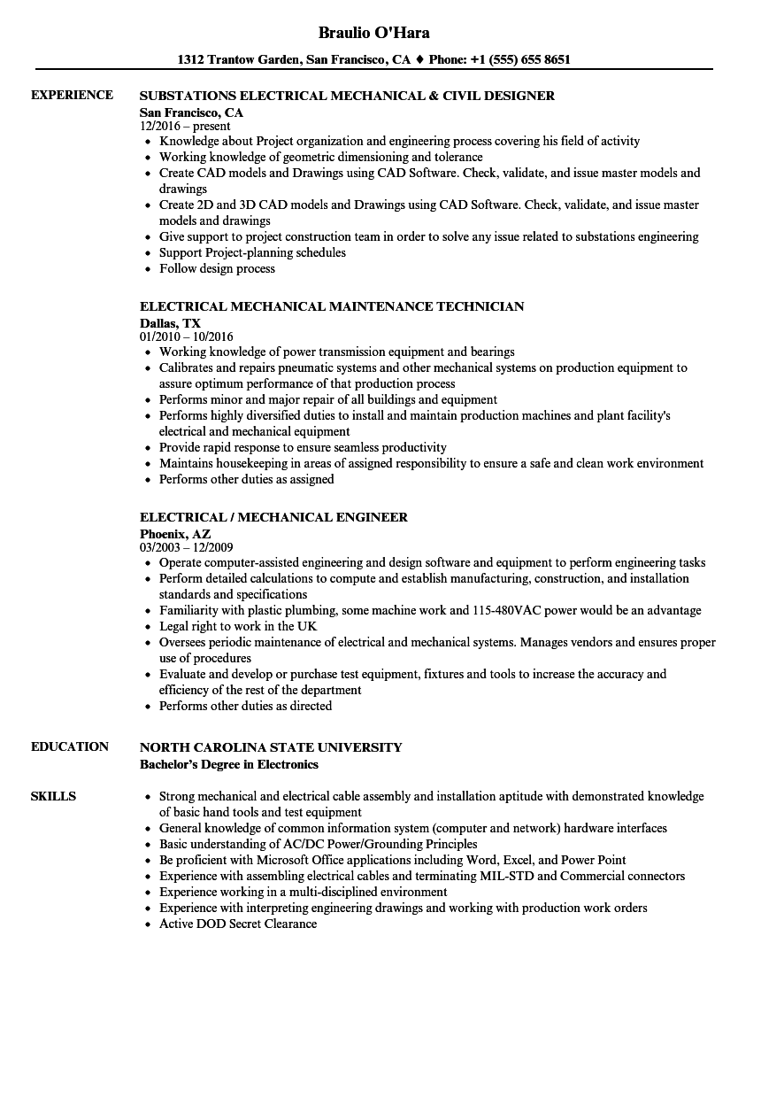 electrical    mechanical resume samples