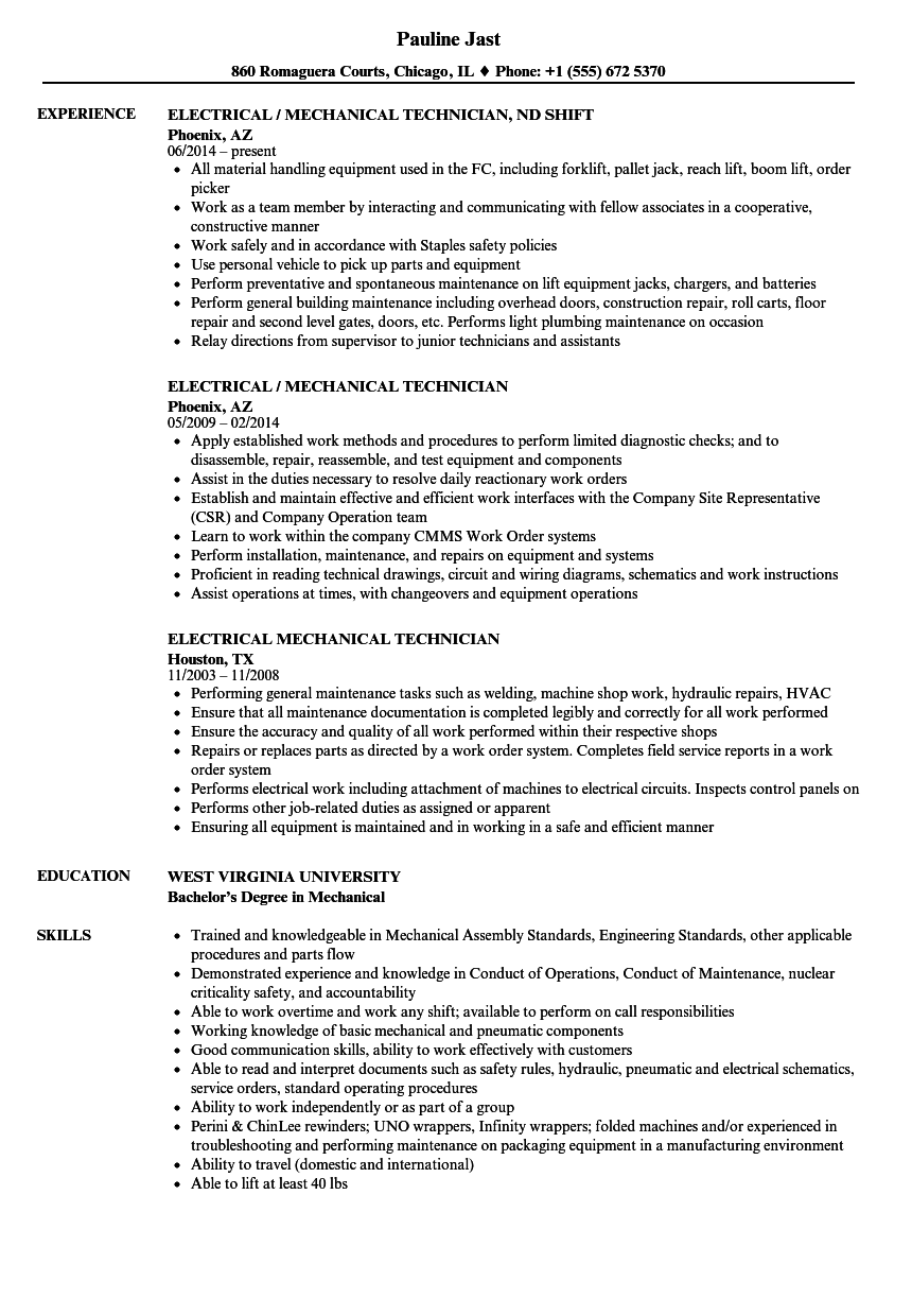 Electrical Mechanical Technician Resume Samples Velvet Jobs