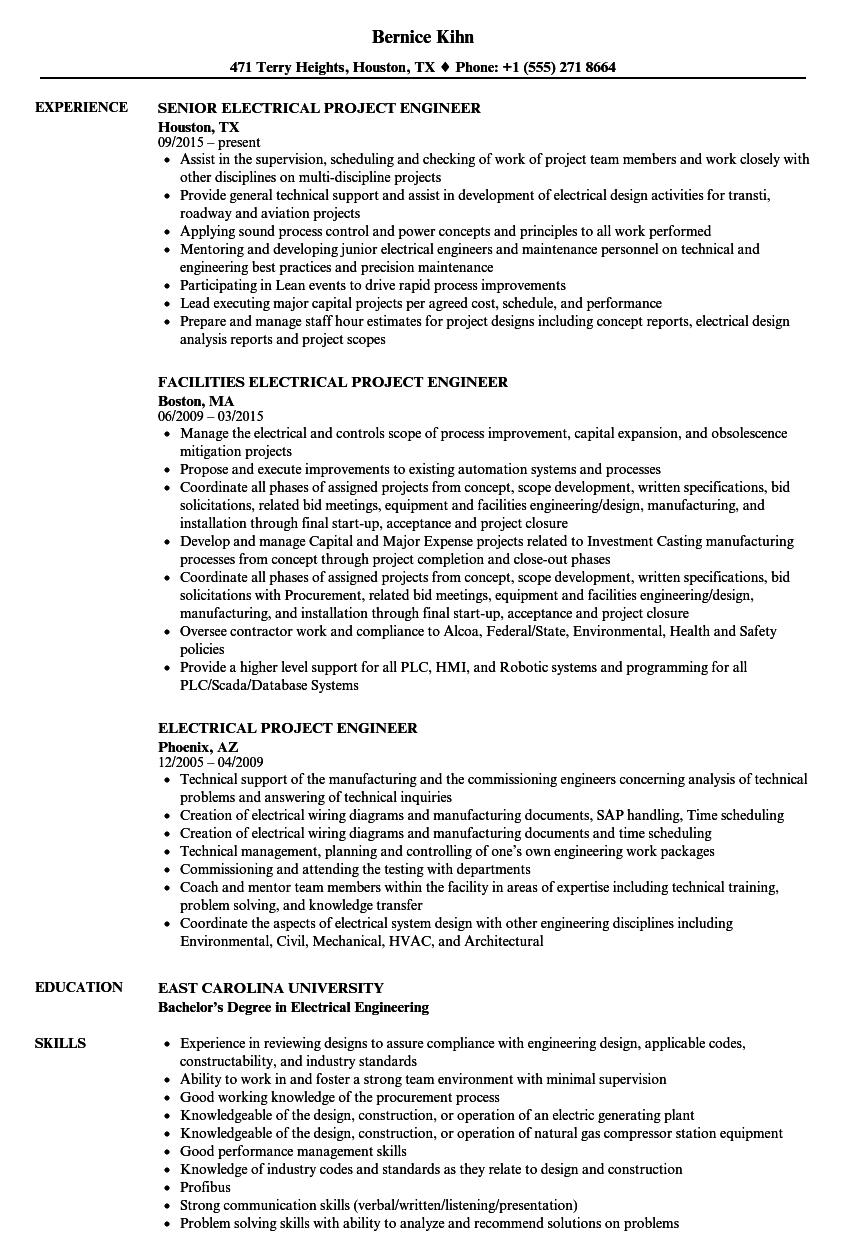 Electrical Project Engineer Resume Samples Velvet Jobs