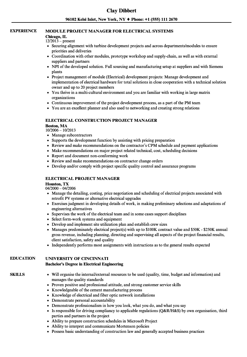 Electrical Project Manager Resume Samples Velvet Jobs