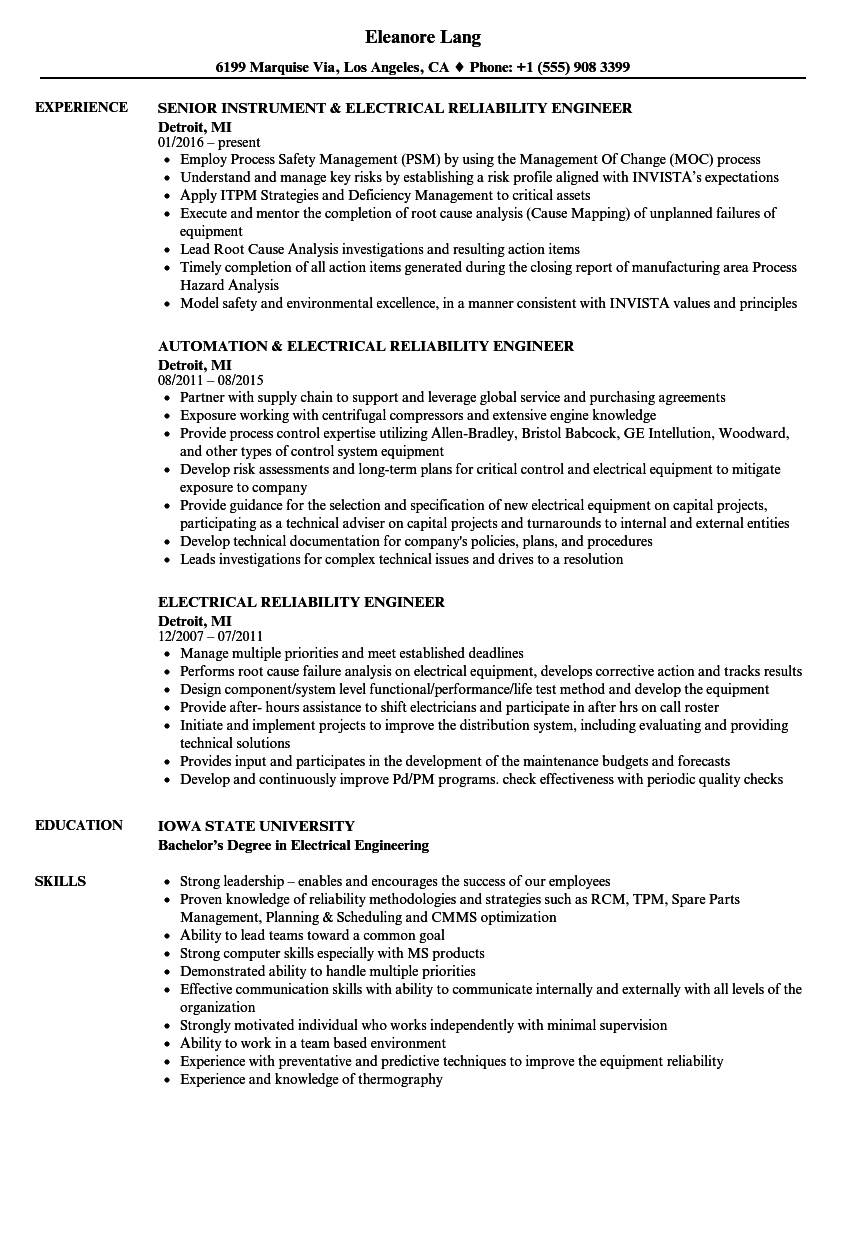 Download Electrical Reliability Engineer Resume Sample As Image File  Reliability Engineer Resume