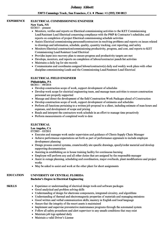 Electrical Resume Samples | Velvet Jobs