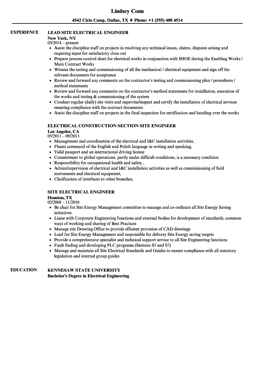 Electrical Site Engineer Resume Samples | Velvet Jobs