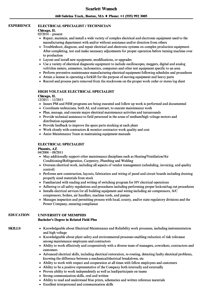 Electrical Specialist Resume Samples | Velvet Jobs