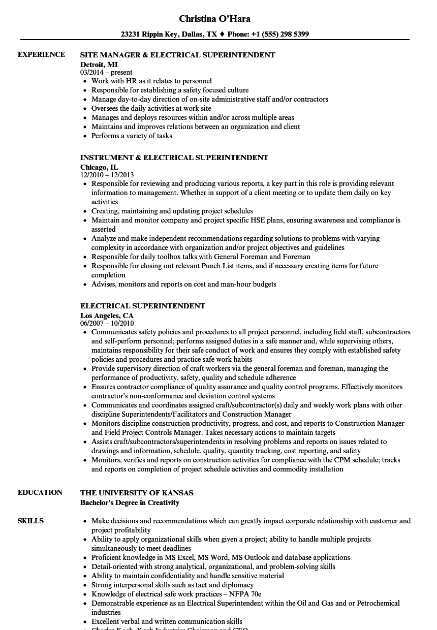 electrical superintendent resume samples