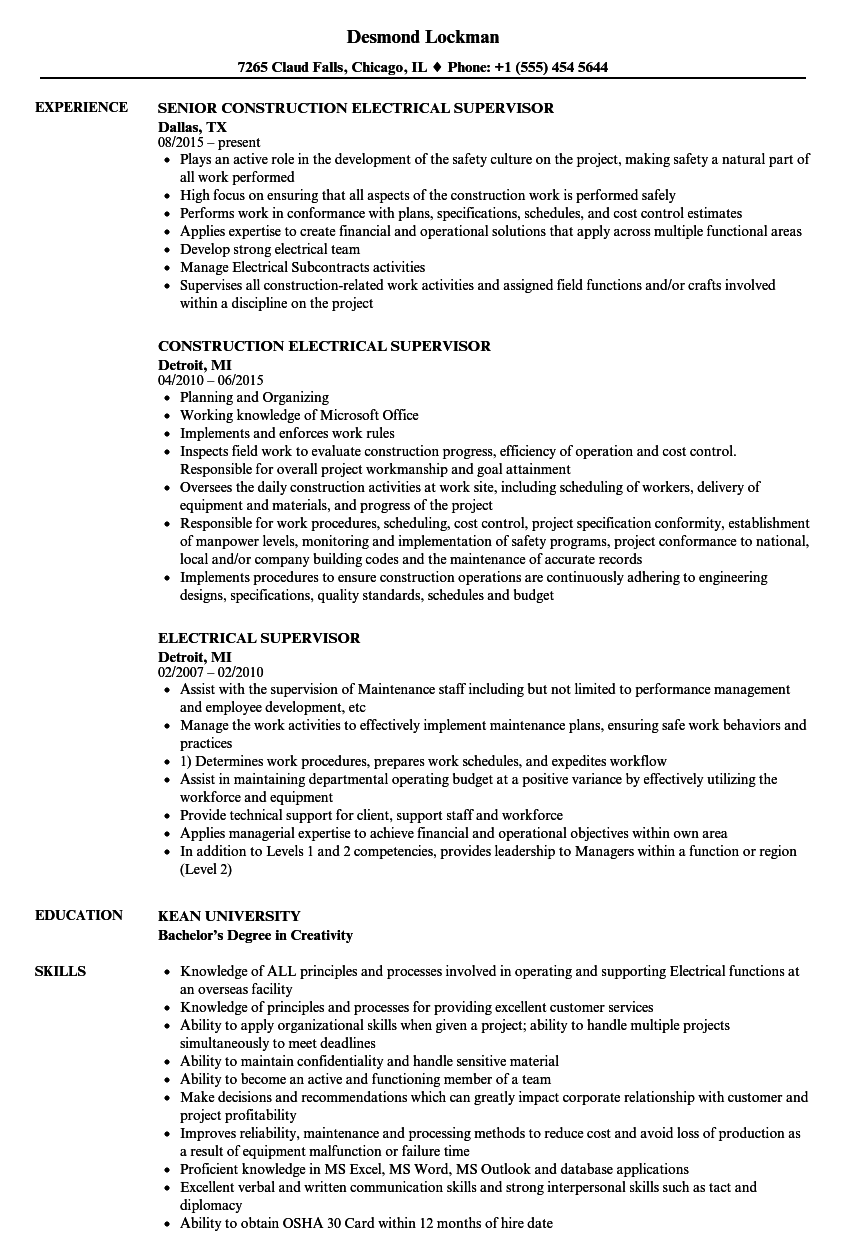 Electrical Supervisor Resume Samples | Velvet Jobs