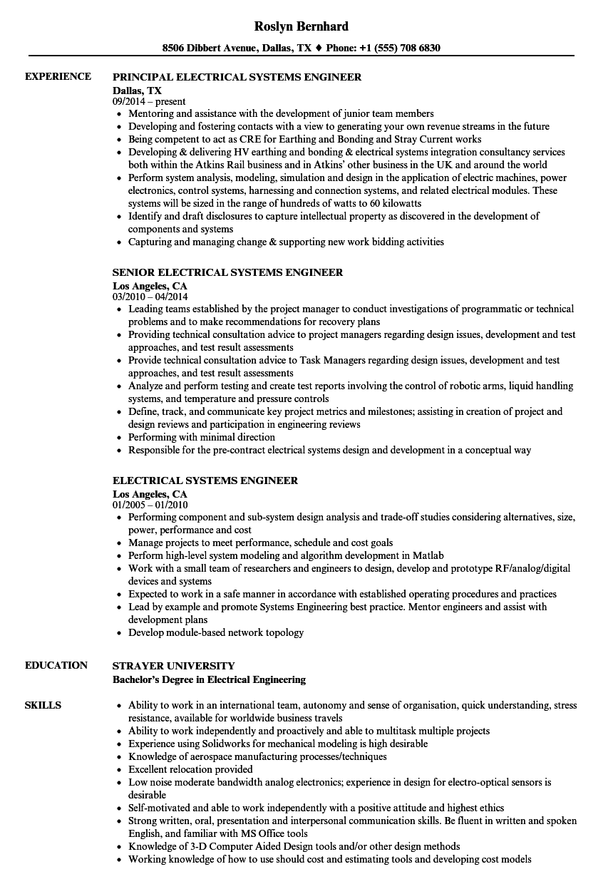 Electrical Systems Engineer Resume Samples | Velvet Jobs