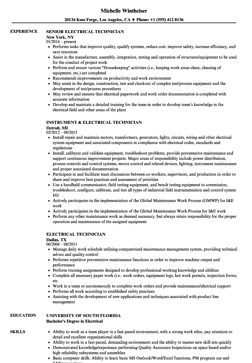 Electrical Technician Resume Samples Velvet Jobs