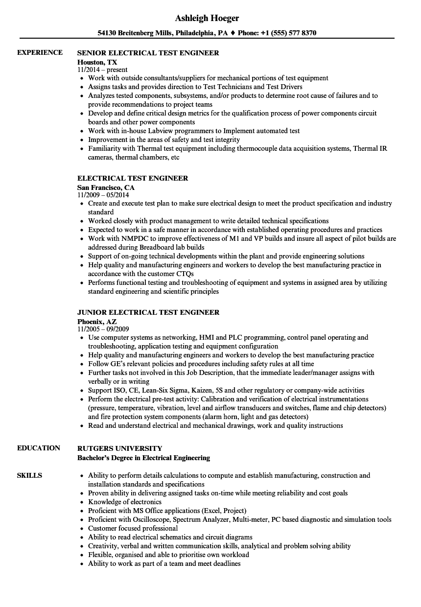 electrical test engineer resume samples velvet jobs