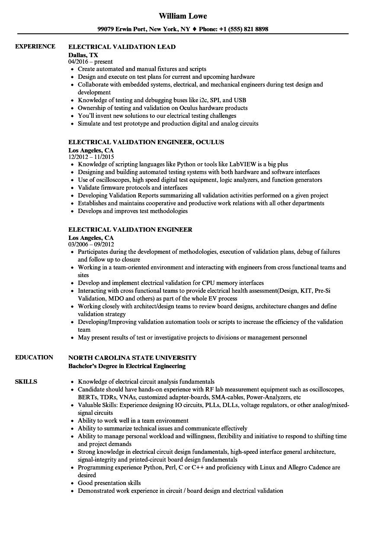 electrical validation resume samples