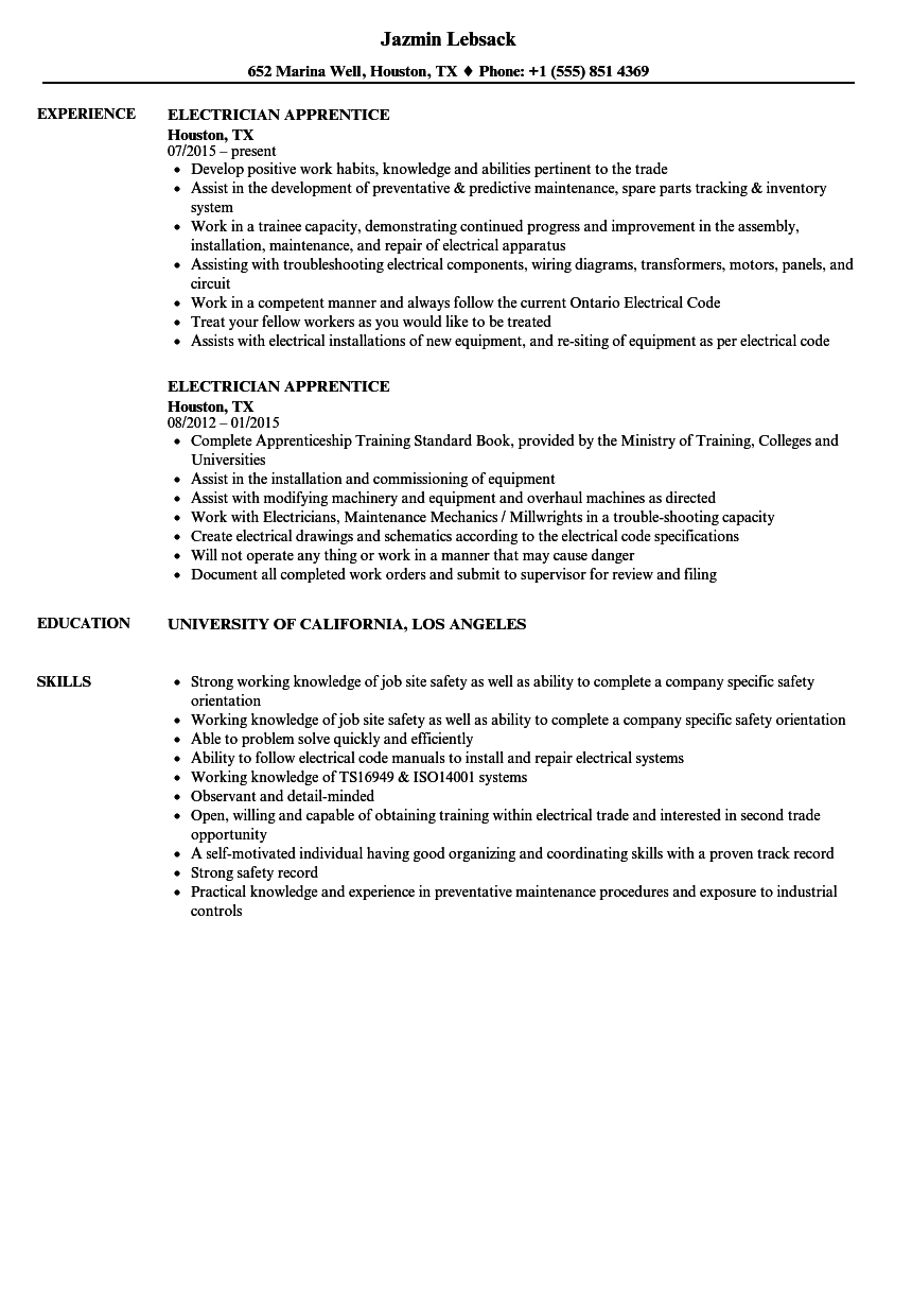 Electrician Apprentice Resume Samples | Velvet Jobs