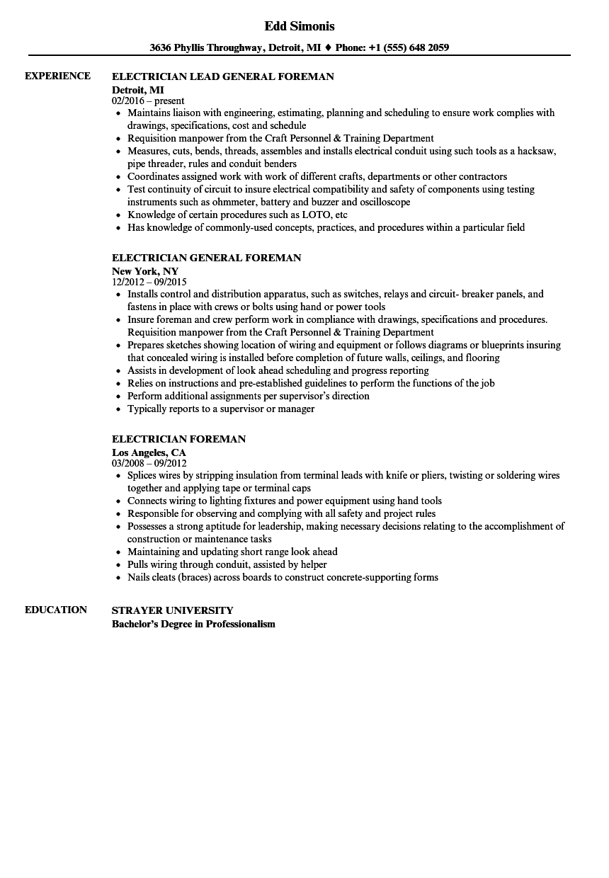 Electrician Foreman Resume Samples | Velvet Jobs