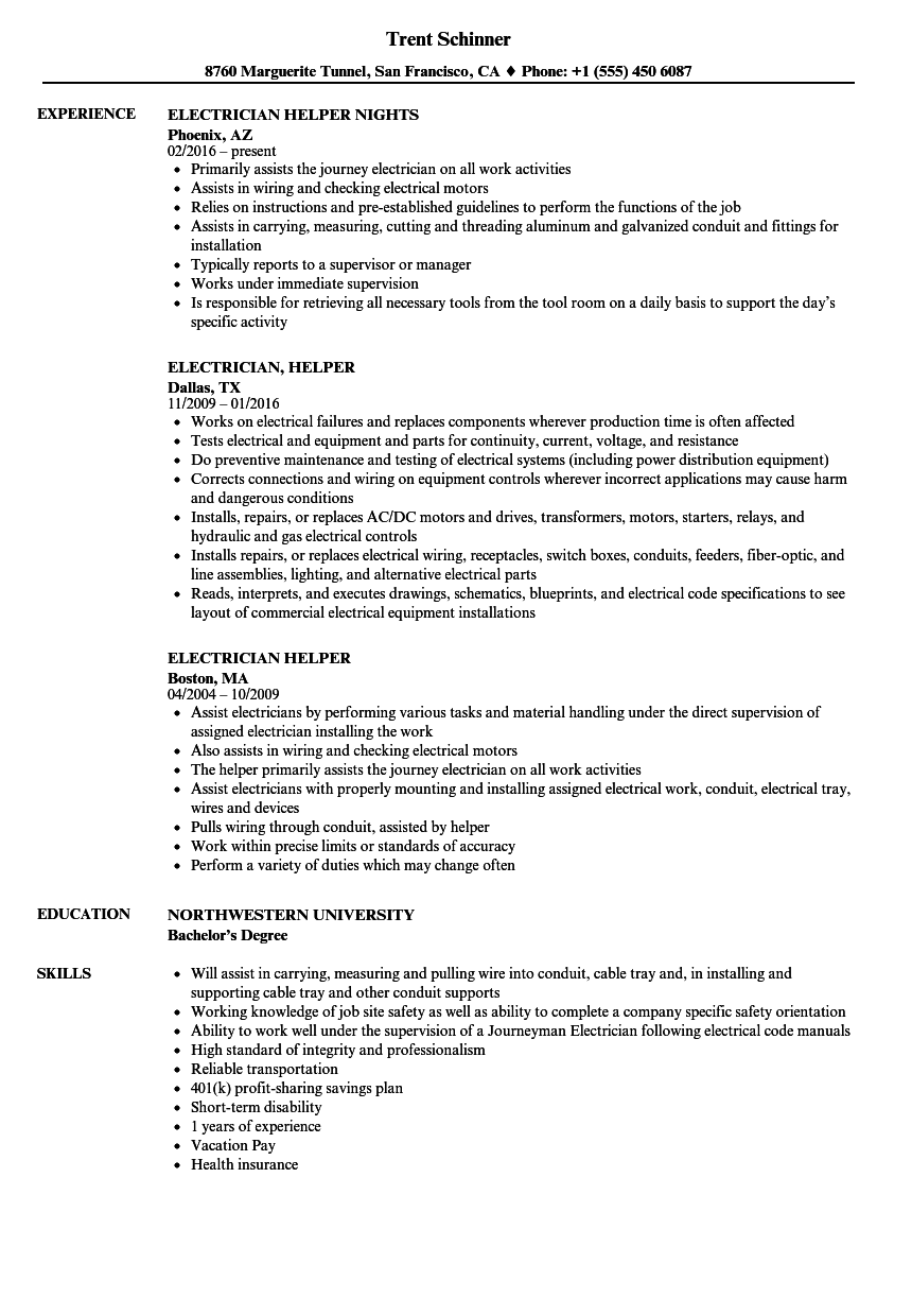 Electrician Helper Resume Samples | Velvet Jobs