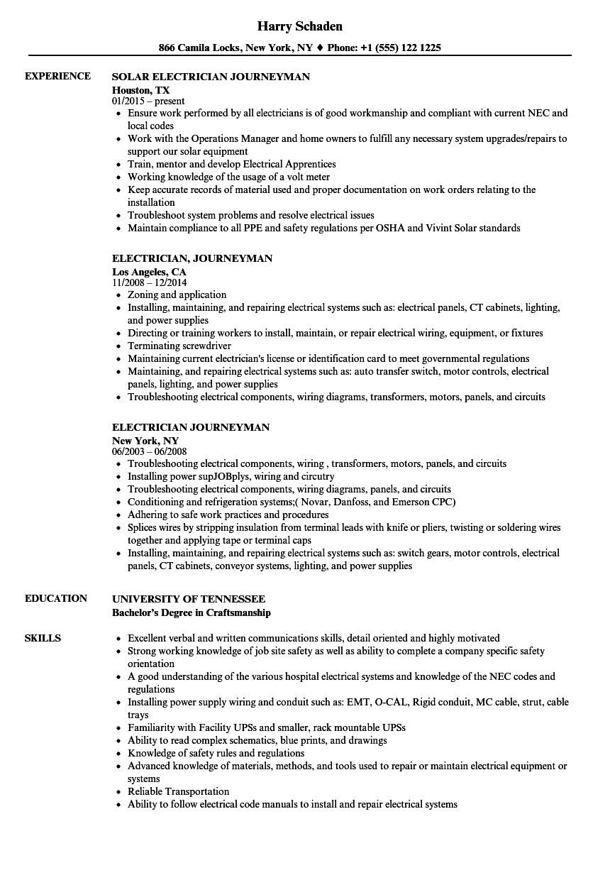 electrician journeyman resume samples