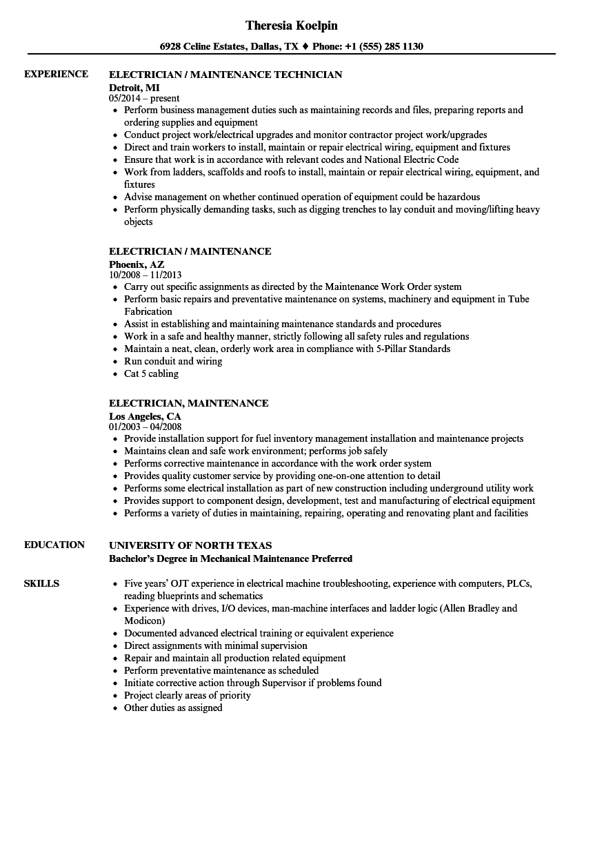 Electrician, Maintenance Resume Samples | Velvet Jobs