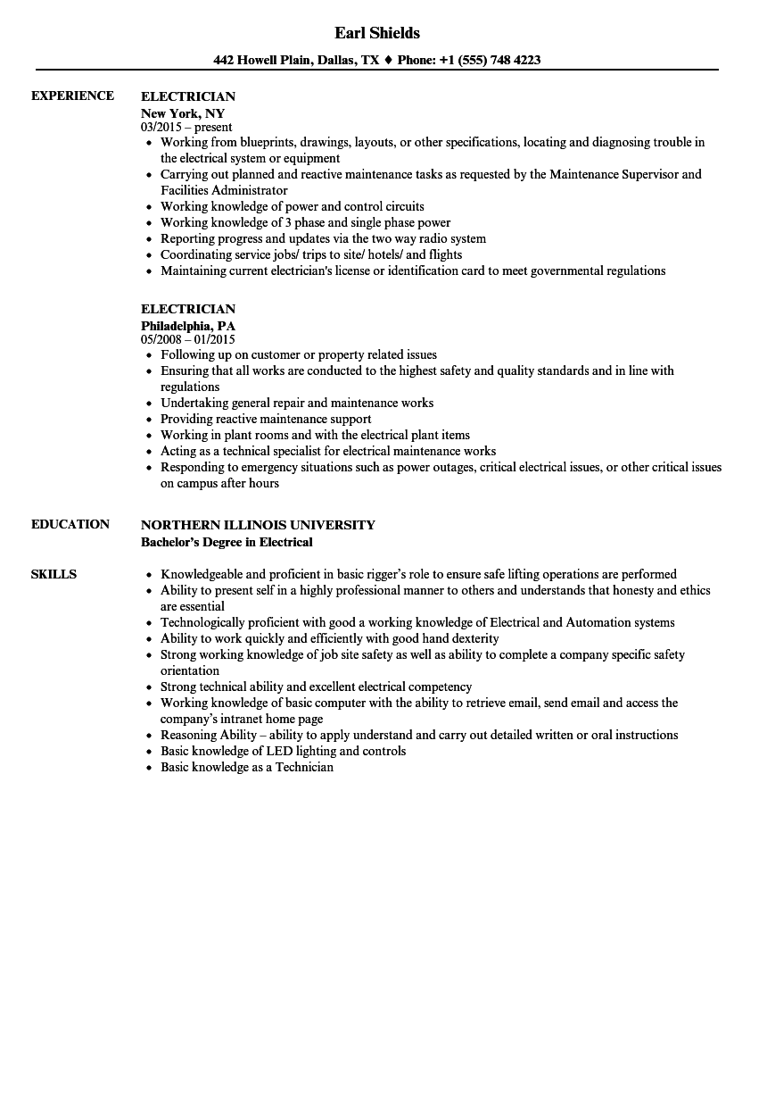 Electrician Resume Samples | Velvet Jobs