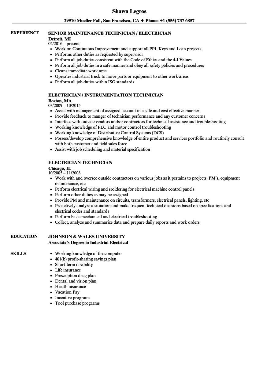 Download Electrician Technician Resume Sample As Image File  Dental Technician Resume