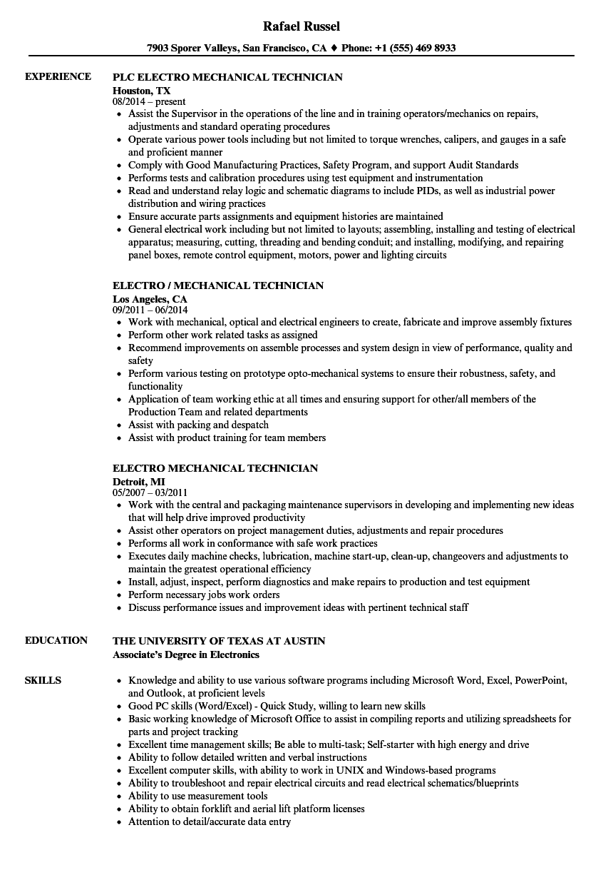 electro mechanical technician resume samples