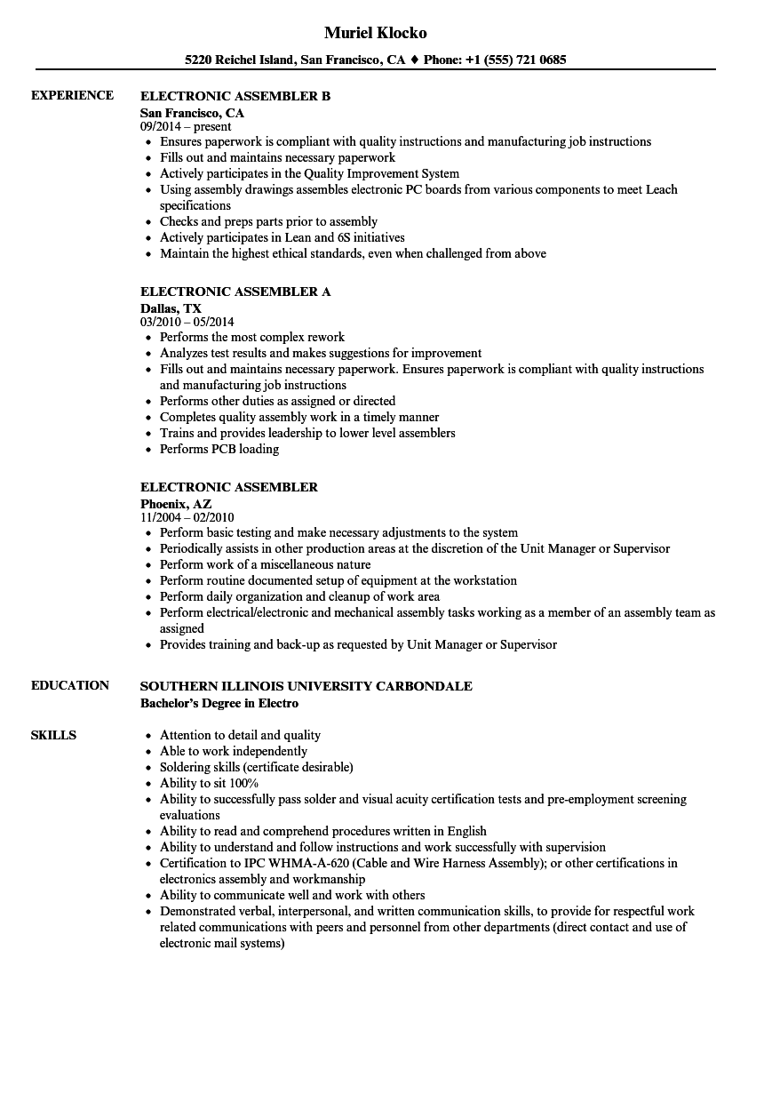 related job titles electronics assembler resume sample - Resume Sample For Manufacturing Jobs
