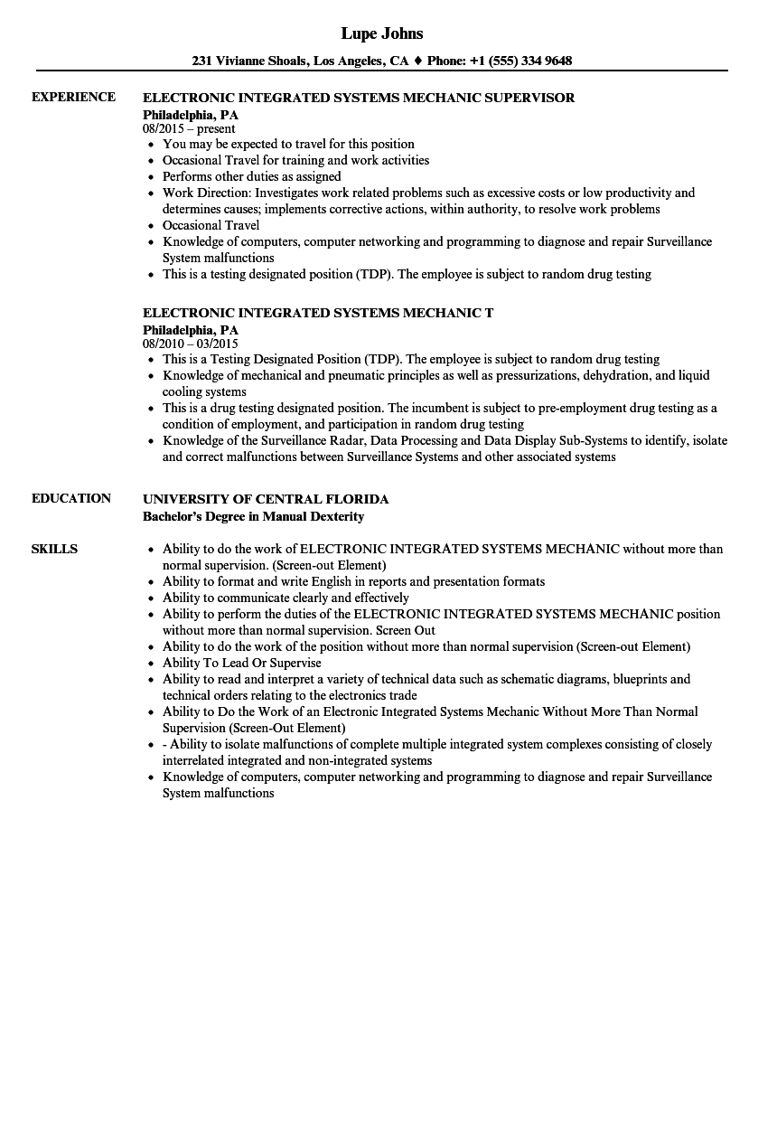 Electronic Integrated Systems Mechanic Resume Samples | Velvet Jobs