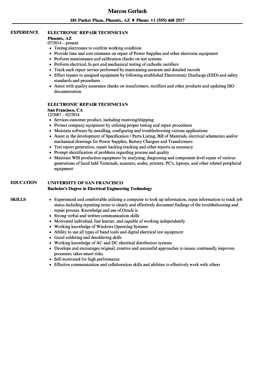electronic repair technician resume samples velvet jobs