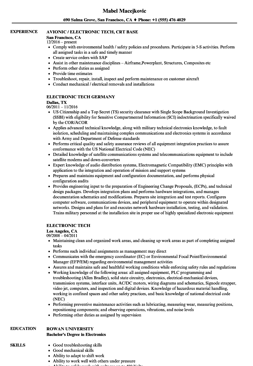 electronic tech resume samples