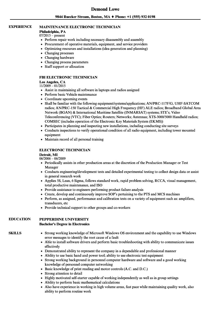 Electronic Technician Resume Samples | Velvet Jobs