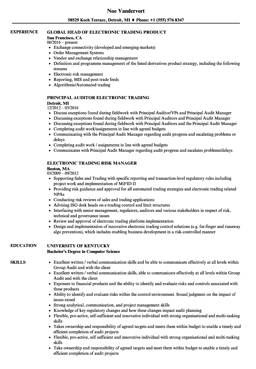 Electronic Trading Resume Samples Velvet Jobs