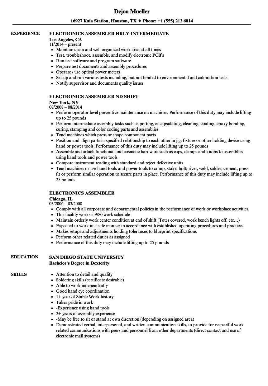 Electronics Assembler Resume Samples Velvet Jobs