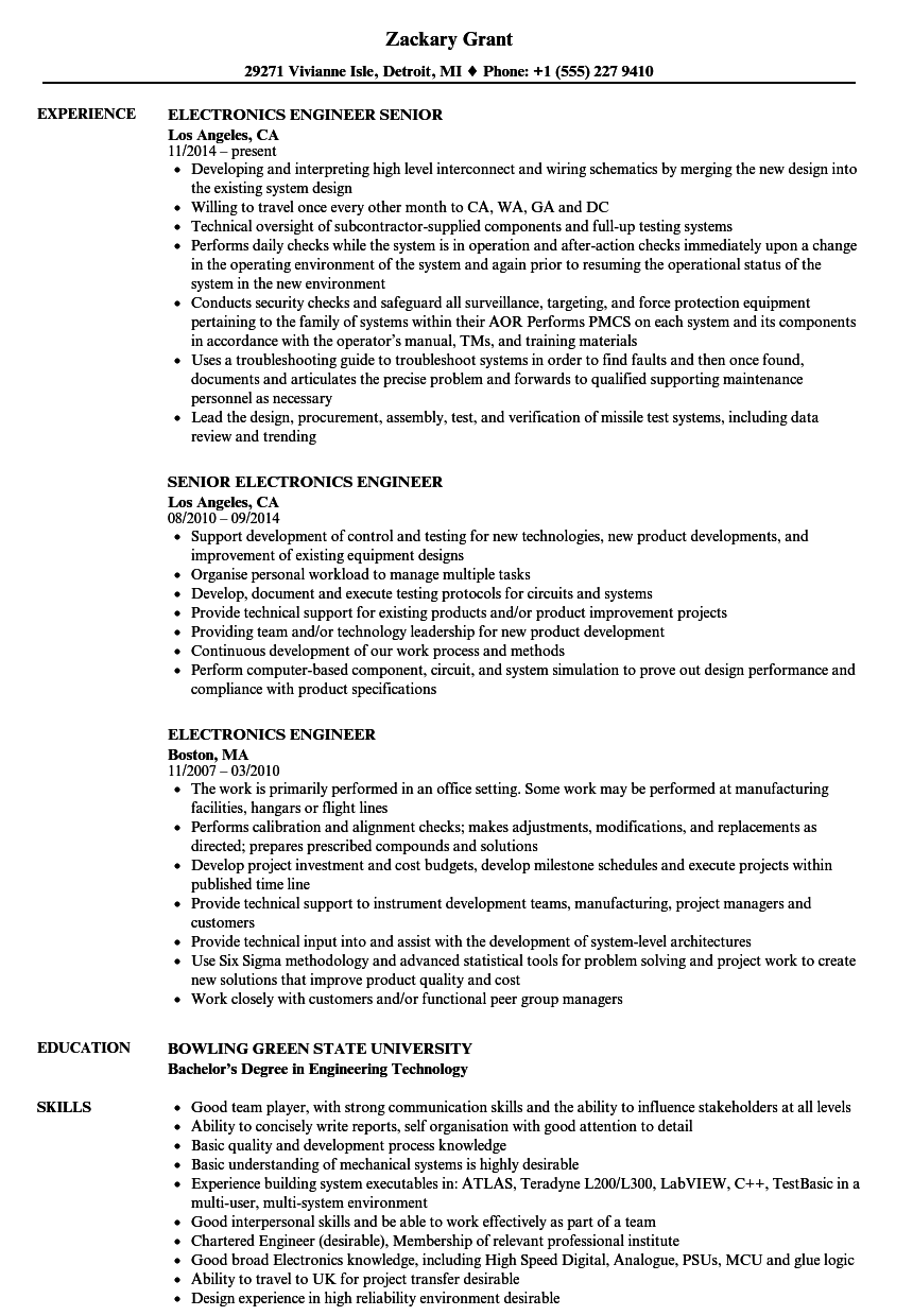 resume for electronics engineer