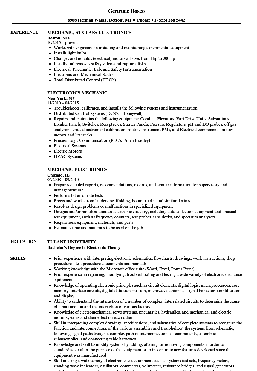 Electronics Mechanic Resume Samples | Velvet Jobs