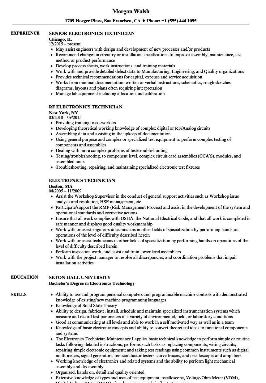 electronics technician resume samples velvet jobs