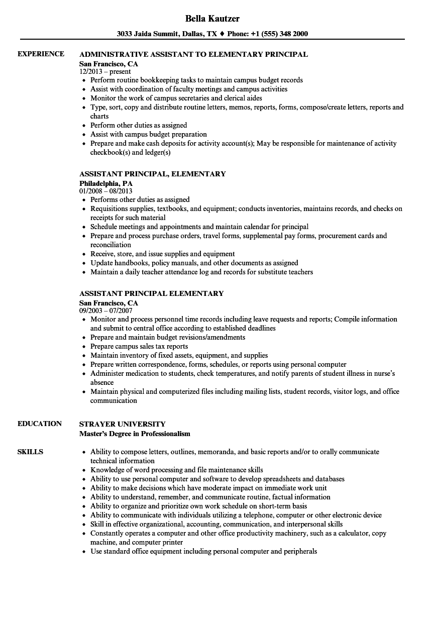 Download Elementary Principal Resume Sample As Image File  Principal Resume