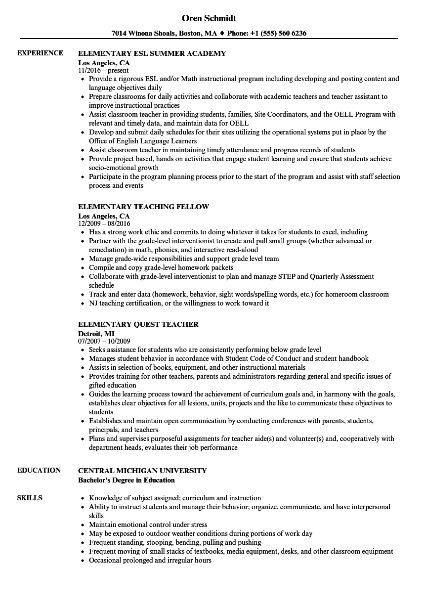 Elementary Resume Samples | Velvet Jobs