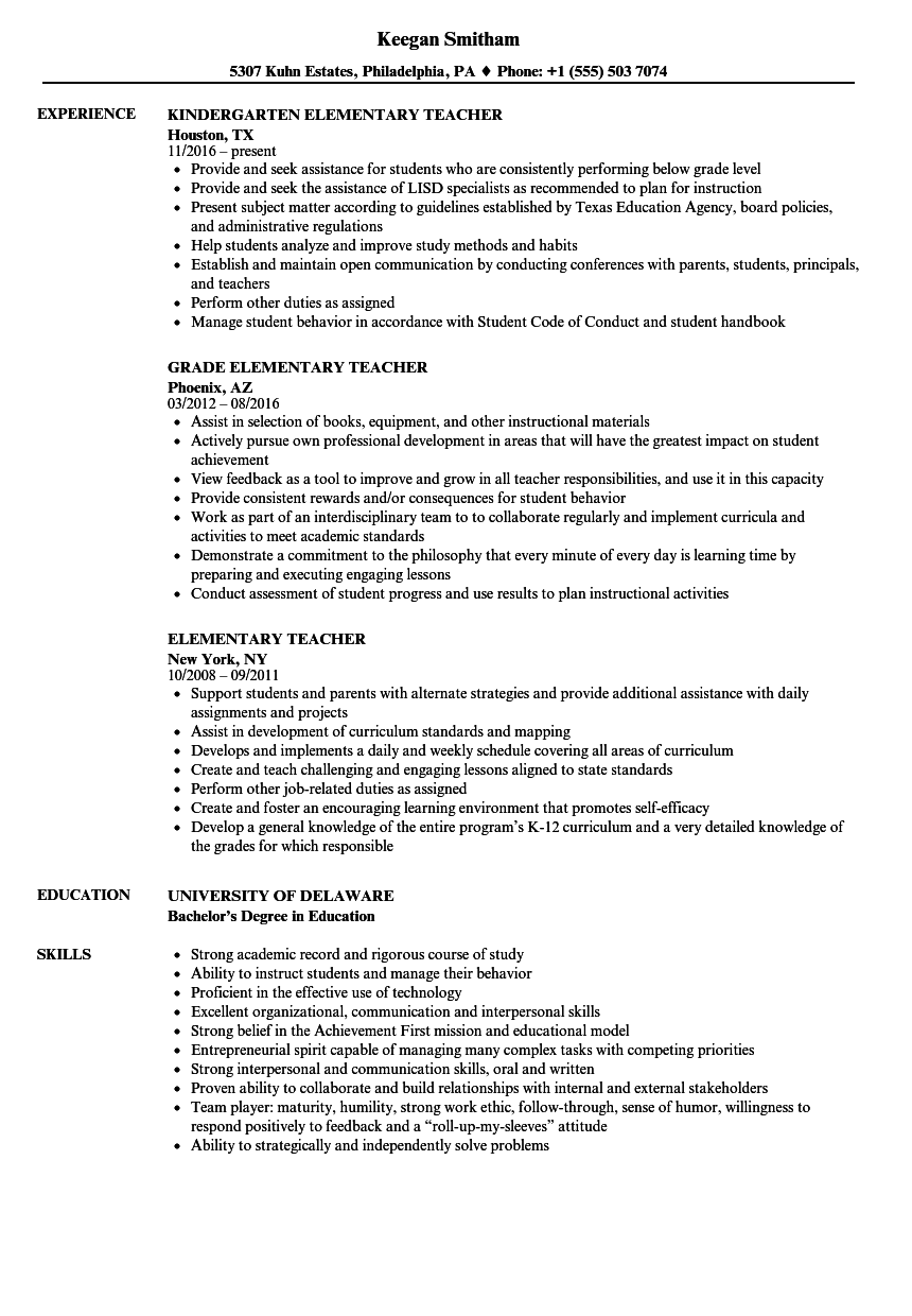 Elementary Teacher Resume Samples | Velvet Jobs