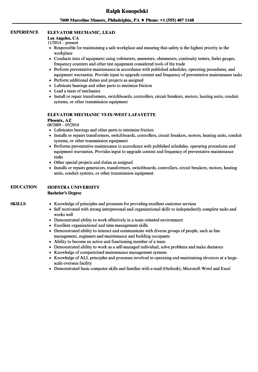 elevator mechanic resume samples