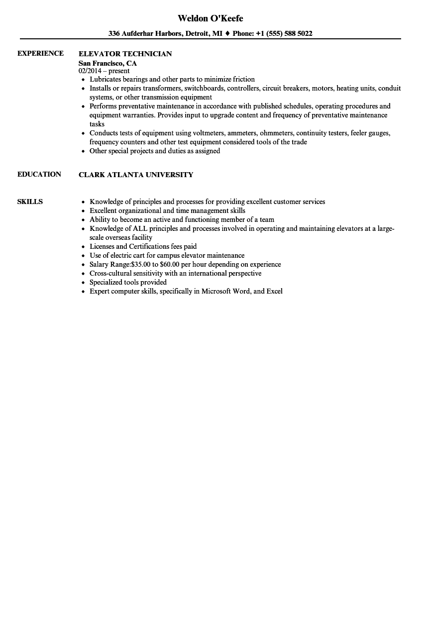 Elevator mechanic sample resume
