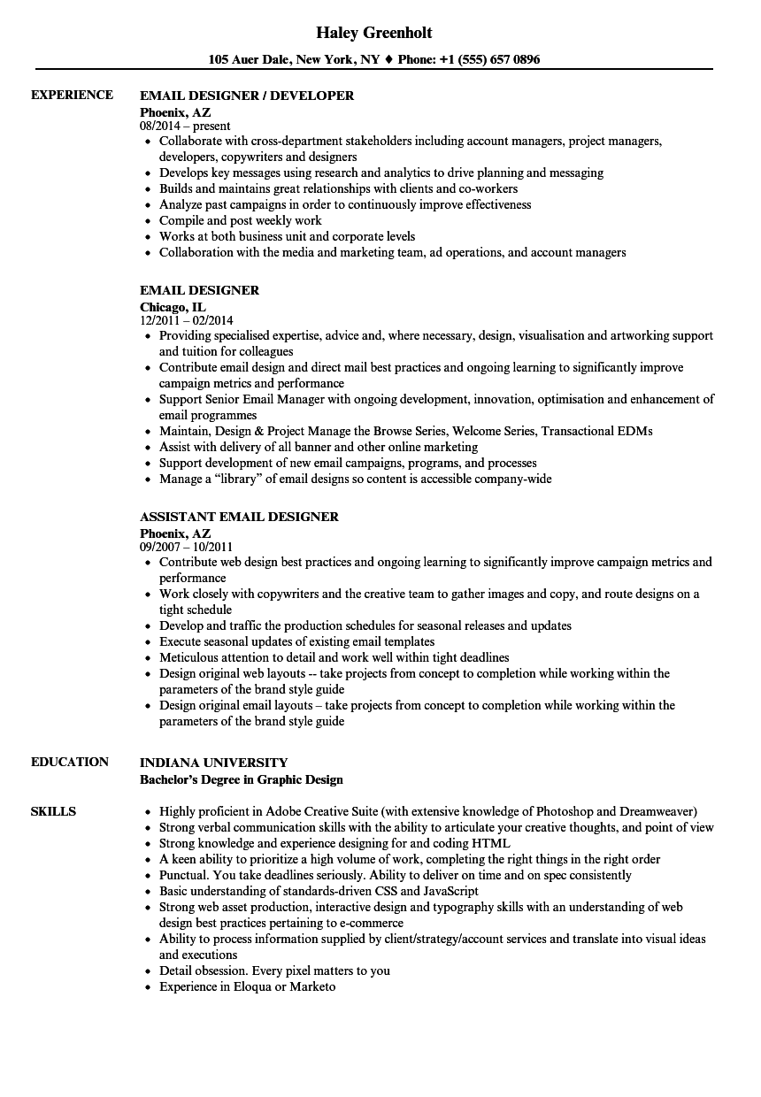 Email Designer Resume Samples | Velvet Jobs
