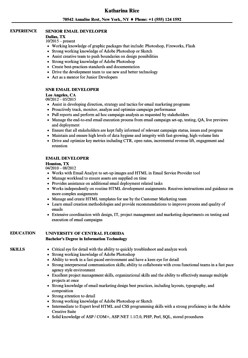 Email Developer Resume Samples | Velvet Jobs