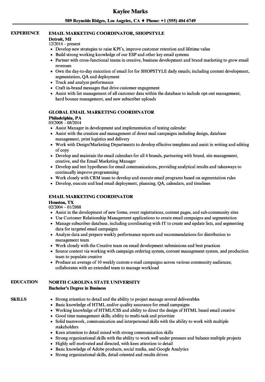 email marketing coordinator resume samples