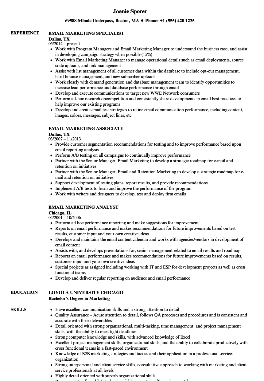 Email Marketing Resume Samples | Velvet Jobs