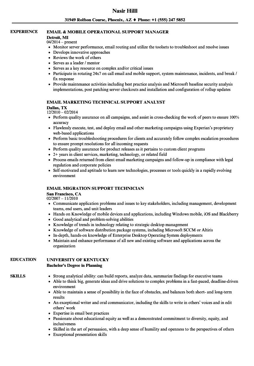 email support resume samples