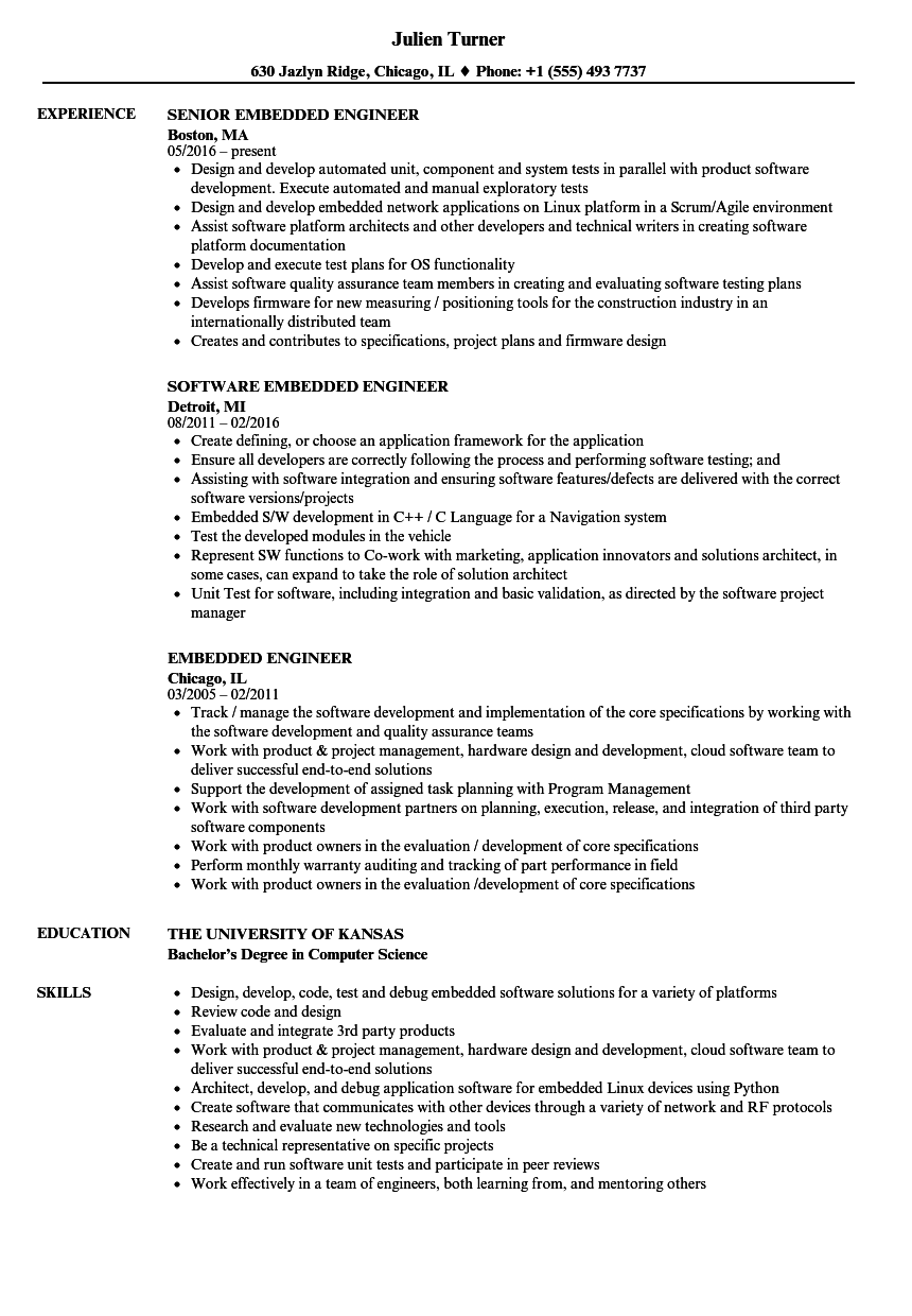 Embedded Engineer Resume Samples | Velvet Jobs