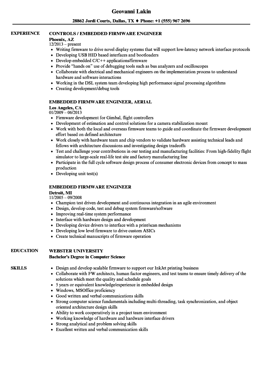 Embedded Firmware Engineer Resume Samples | Velvet Jobs