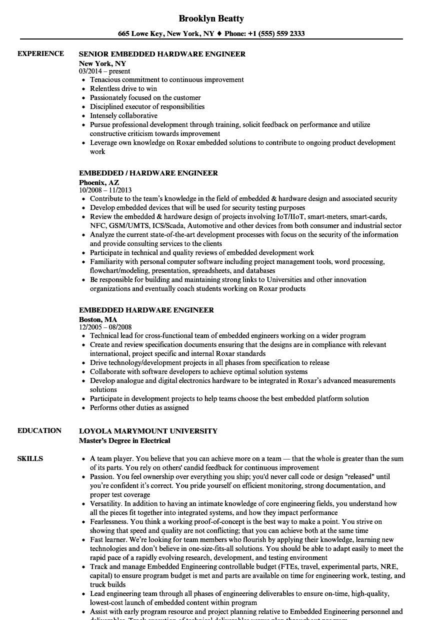 embedded hardware engineer resume samples