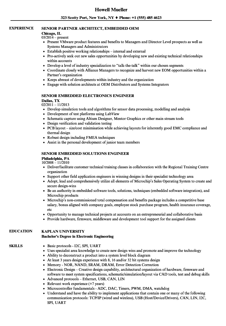 Embedded Resume Samples | Velvet Jobs