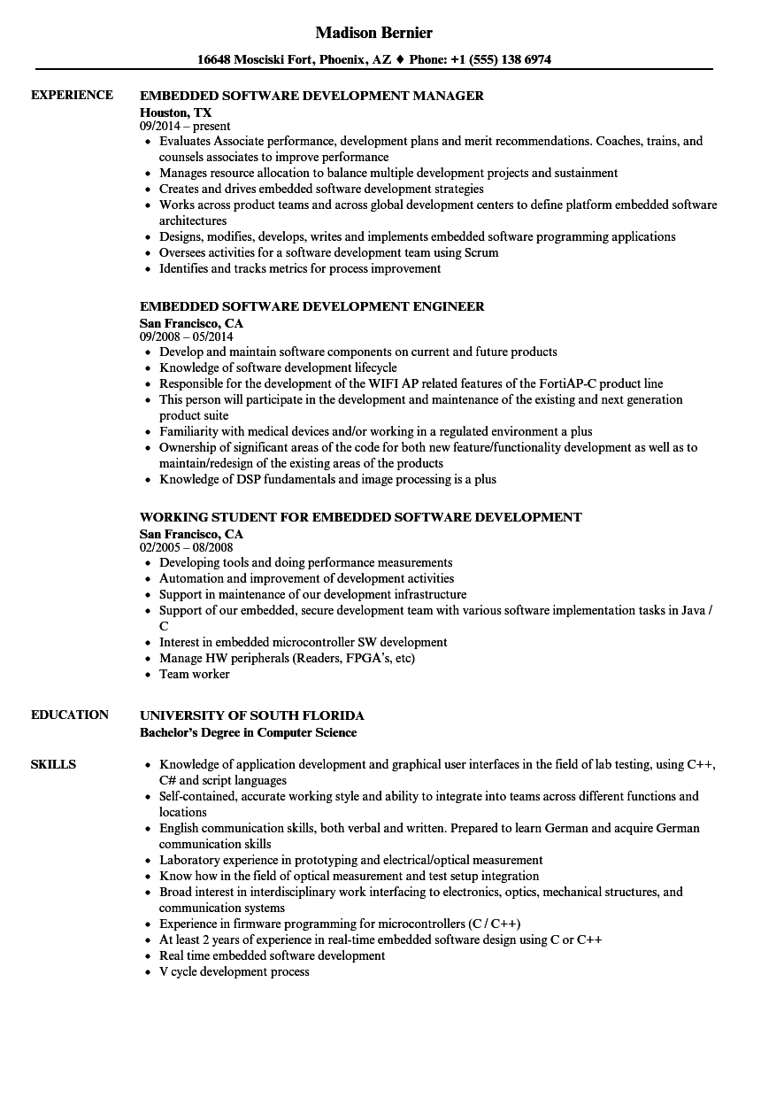 Embedded Software Development Resume Samples | Velvet Jobs