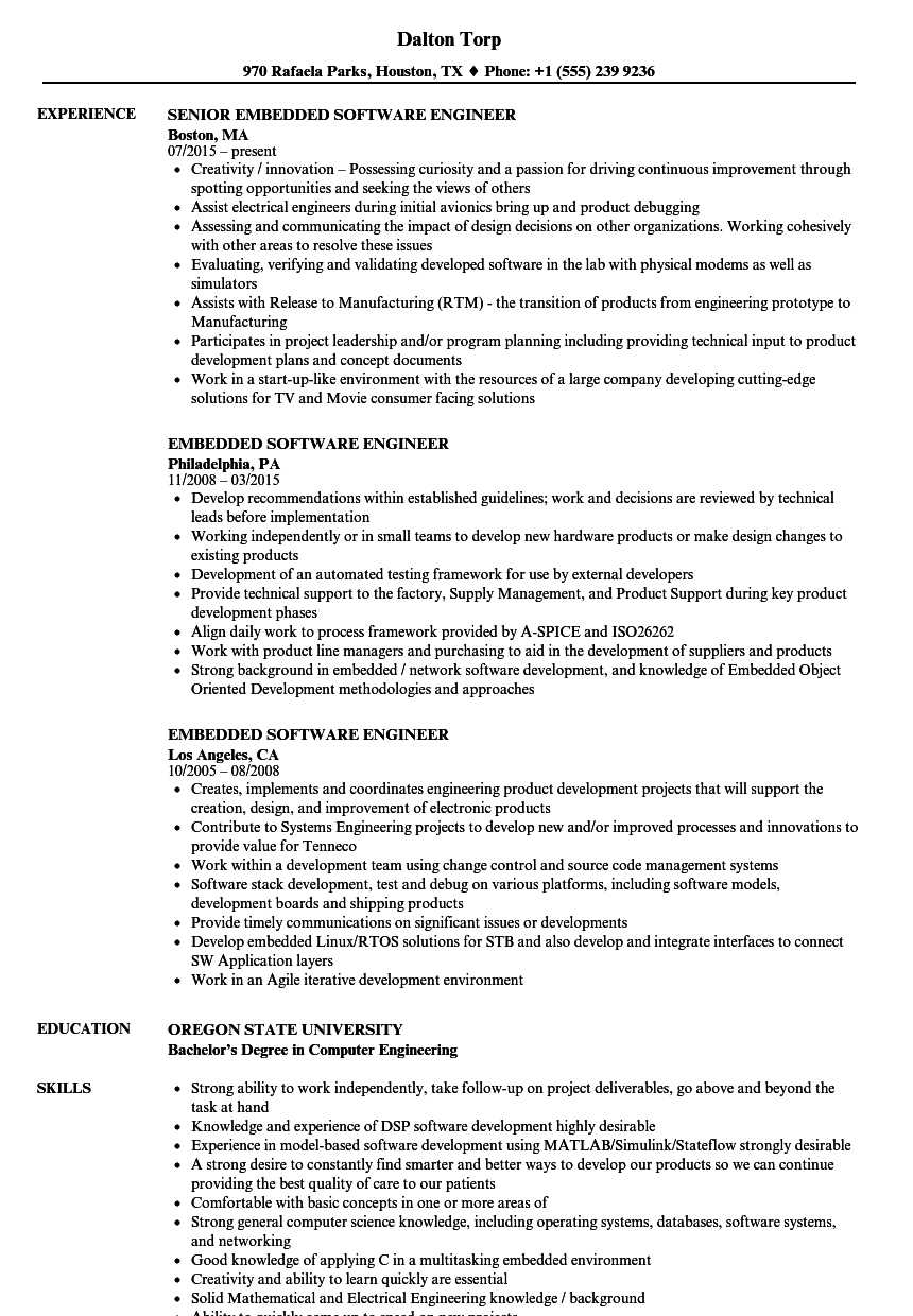 Embedded Software Engineer Resume Samples | Velvet Jobs